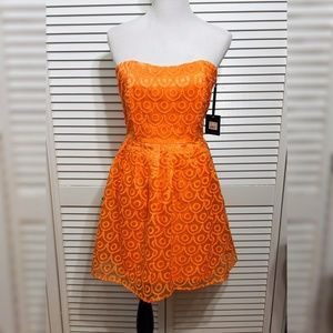 Strapless Neon Orange Dress